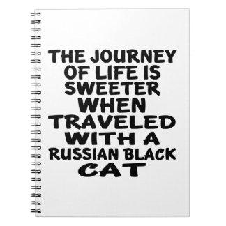 Caderno Espiral Viajado com o gato preto do russo