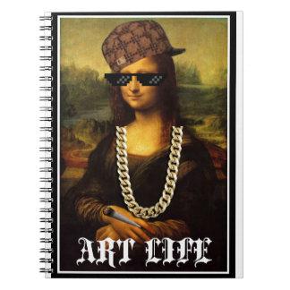 Caderno Espiral Vida da arte da vida do vândalo de Mona Lisa