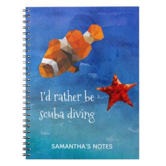 Caderno Espiral Vida do oceano com os peixes e a estrela do mar