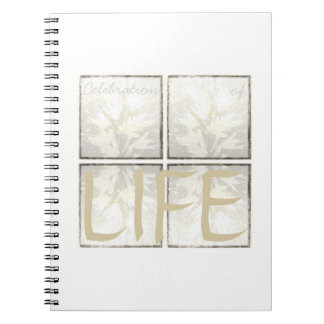 Caderno Espiral Vida fúnebre moderna elegante da celebração do