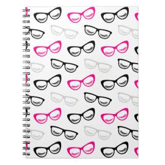 Caderno Espiral Vidros & chicotes cor-de-rosa, pretos & cinzentos