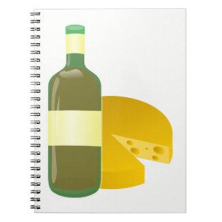 Caderno Espiral Vinho e queijo