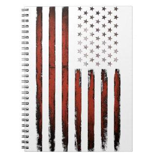 Caderno Espiral Vintage americano da bandeira dos Estados Unidos