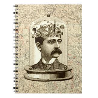 Caderno Espiral Vintage do cérebro STEAMPUNK do maquinismo de
