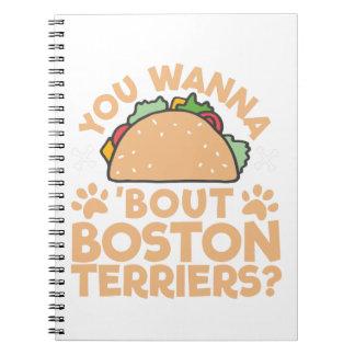 Caderno Espiral Você quer aos terrier de Boston do ataque do Taco?