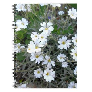 Caderno Espiral Wildflowers brancos