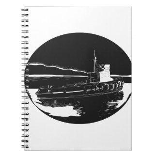 Caderno Espiral Woodcut do Oval do rebocador do rio