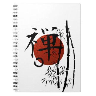 Caderno Espiral Zen do Kanji com Enso e bambu