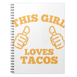 Caderno Esta menina ama o Tacos
