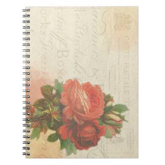 Caderno estacionário cor-de-rosa do vintage