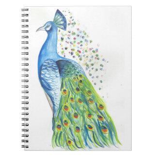Caderno estampa pavão colorido