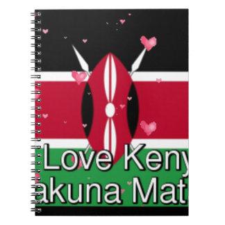 Caderno Eu amo! Arte engraçada do design da nota de Kenya