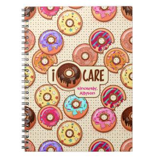 Caderno Eu doce engraçado bonito da rosquinha do cuidado