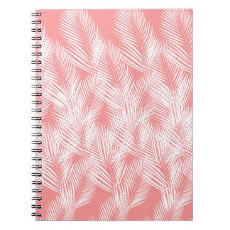 Caderno Exotico do branco do rosa das palmas do design