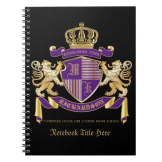Caderno Faça seu próprio emblema da coroa do monograma da