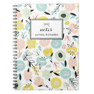 Caderno feito sob encomenda do teste padrão floral