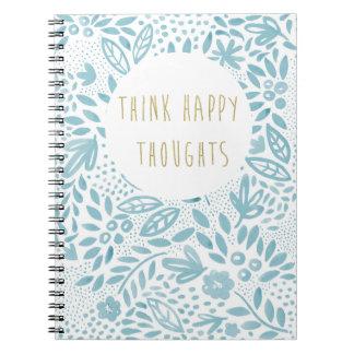 Cadernos Caderno feliz azul dos pensamentos do Belle