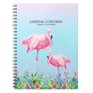 Caderno Flamingos brancos & cor-de-rosa com flores