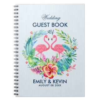 Caderno Flamingos cor-de-rosa & grinalda tropical das