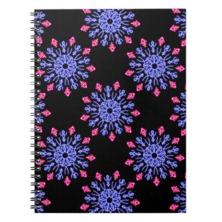 Caderno Flor de néon azul e vermelha