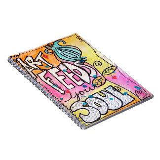Caderno Flor vibrante brilhante do divertimento da arte do