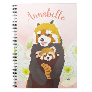Caderno floral cor-de-rosa personalizado da panda