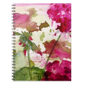 caderno floral da aguarela
