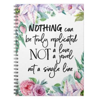 Caderno floral das citações da aguarela elegante