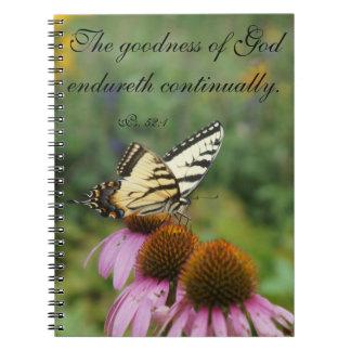 Caderno floral do elogio da borboleta amarela