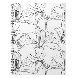 Caderno floral dos esboços tropicais
