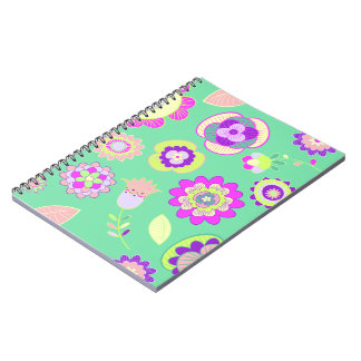 Caderno floral Minty