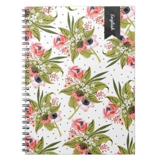 Caderno floral pintado mão das papoilas