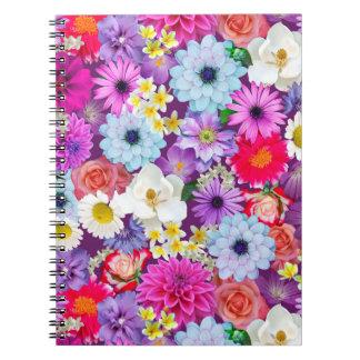 Caderno floral real da colagem da foto