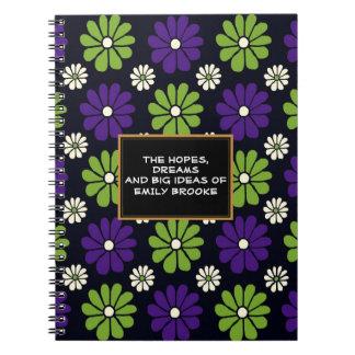 Caderno floral roxo e verde personalizado