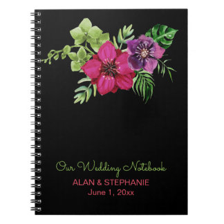 Caderno floral verde roxo do casamento do rosa