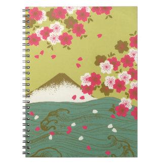 Caderno Flores de cerejeira cor-de-rosa impressionantes de