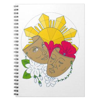 Caderno Fluxo filipino de Sampaguita do hibiscus de Sun da