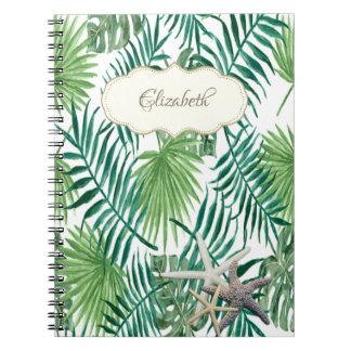 Caderno Folha de palmeira adorável, estrela do mar,