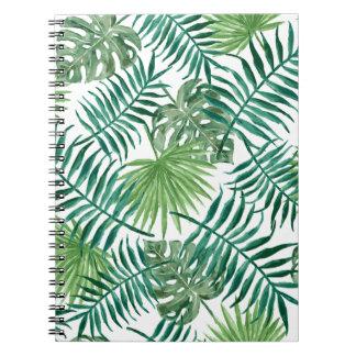 Caderno Folha de palmeira botânica tropical da planta