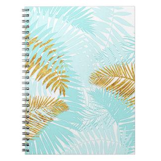 Caderno Folhas de palmeira Aloha-Tropicais do Aqua da