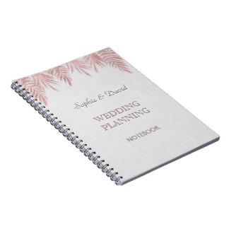 Caderno Folhas de palmeira cor-de-rosa elegantes do ouro