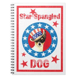 Caderno Fox patriótico Terrier do brinquedo