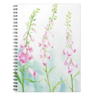 Caderno Foxgloves cor-de-rosa da aguarela