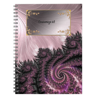 Caderno Fractals elegantes extravagantes com padrões legal