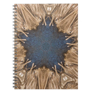 Caderno Fundo azul do vime da estrela do caleidoscópio