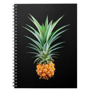 Caderno fundo preto minimalista elegante do abacaxi  