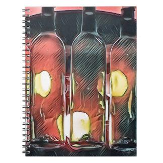 Caderno Garrafas de vinho artísticas da canela cor-de-rosa