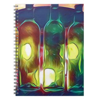 Caderno Garrafas de vinho artísticas da Multi-Cor Funky