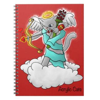 Caderno Gato cinzento do Cupido de Smokey do dia dos