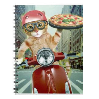 Caderno gato da pizza - gato - entrega da pizza